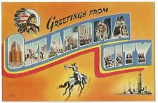 Greetings From Oklahioma City OK ~ Large Letters Multi-View Postcard 1940's