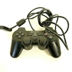 Sony Dual Shock 2 Wired Playstation PS2 Controller Black Works Genuine #22 B31