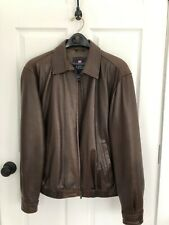 Chaps by Ralph Lauren Brown Leather Bomber Jacket Men's Size Medium vtg classic