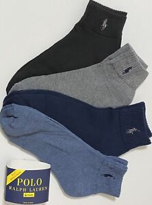 Polo Ralph Lauren Men's Athletic 4-Pair  Quarter Crew Socks Blue/Gray/Black