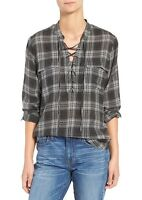 New Madewell Terrace lace-up plaid flannel shirt Black White long sleeve Sz M