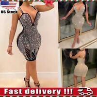 Women Retro Sequin Sexy V Neck Bodycon Cocktail Evening Party Ball Gown Dress