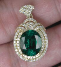 1.65 Carat 14KT Yellow Gold Natural Green Emerald EGL Certified Diamond Pendant