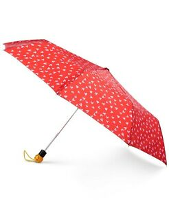 """Totes Auto-Open Umbrella with Emoji Face Handle,42"""" canopy, Color Red Sweet NEW"""