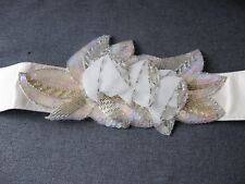 Vintage beaded flowers & leaves creamy silk belt great for a bride marriage