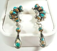 """925 STERLING CLUSTER & DANGLE SPINY OYSTER & TURQUOISE 1 11/16"""" POST EARRINGS"""
