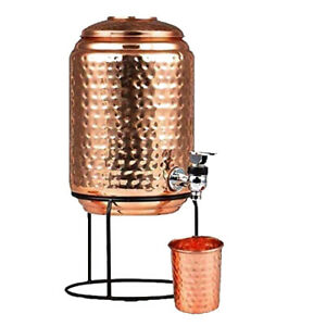 Heavy Pure Copper Water Dispenser Pot (5000 ml) with Copper Glass (300ml) US