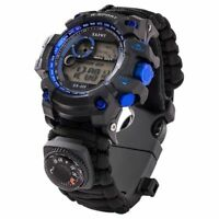 Survival Watch Compass Bracelet Whistle Paracord Outdoor Night Vision Waterproof