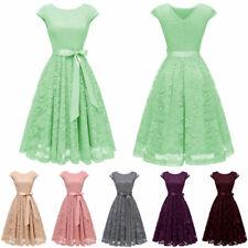 Women's Short Bridesmaid Dress Cap Sleeve Vintage Floral Lace Party Dresses