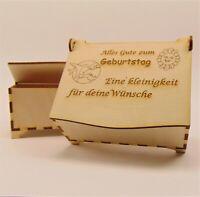 """Geschenk """" Zum Geburtstag """" Schatulle Holz, Geldgeschenk Holzbox Personalisiert,"""
