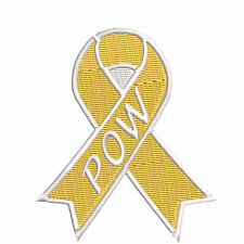 """Soldier P.O.W. Yellow Awareness Ribbon 3.5"""" Iron/Sew On Decorative Patch"""