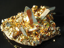 1 STARBRARY PURE 24KT GOLD AURA LEMURIAN SEED QUARTZ CRYSTAL POINT CLUSTER! LRG