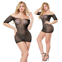 FT- Sexy Women Club See-Through Shoulder-Off Wave Mesh Fishnet Mini Dress Showy