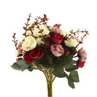 HOT 2 Bouquets 42 Head Artifical Rose Silk Flower Bouquet Home Wedding Decor New
