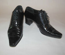 ANNE KLEIN II WOMENS SHOE BLACK LEATHER POINTY LACE UP SIZE 7M