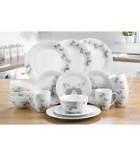 16 PIECE WHITE GREY BUTTERFLY ROUND DINNER SET SERVICE TEA CROCKERY