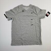 NEW Nike Dri Fit Adult Logo Gray Short Sleeve Athletic Tee Shirt Men's Large