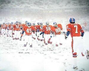 NFL Denver Broncos John Elway Player Intro in Snowstorm Color 8 X 10 Photo