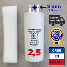 Condensateur de 2.5 uF (µF) pour moteur SOMFY ou SIMU de volet roulant ou store