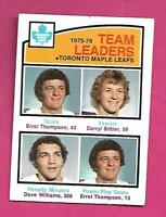 1976-77 OPC # 394 LEAFS DAVE TIGER WILLIAMS TL ROOKIE YEAR CARD (INV# D2227)