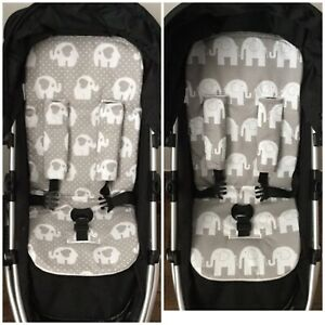 Pram liner harness strap covers elephants dots grey white animals hand made new