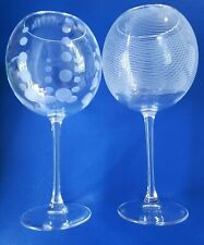 Crystal Wine Glasses Balloon Set Of Two- Etched Polka Dot & Stripe