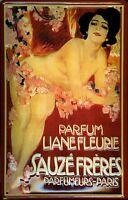Sauze Freres Parfumeurs Paris Blechschild Schild 3D geprägt Tin Sign 20 x 30 cm
