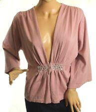 Simply Chloe Dao Damen Pink Kimono-Strickjacke mit Laschenverschluss GRÖSSE L
