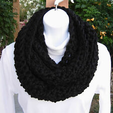 INFINITY SCARF Loop Cowl, Solid Black Handmade Crochet Knit Thick Winter Circle