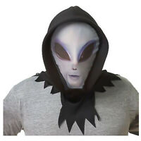 Adult Sci-Fi Area 51 Gray Man Alien Head Halloween Costume Hooded Full Mask