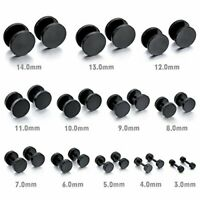 16G BLACK STEEL TITANIUM FAKE CHEATER PLUGS 2G 0G LOOK ILLUSION EARRINGS GAUGES