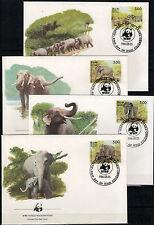 Sri Lanka 1986, Elefanten (MiNr. 753/56) je auf Blanco-FDC mit ESSt. -2272-