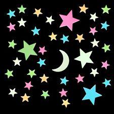 40 Leuchtsterne nachleuchtend Mond bunt ⭐ Hart-Plastik Kunststoff zum Aufkleben