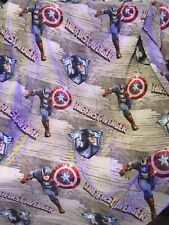 Captain America Marvel Twin Bed Flat Sheet Fabric