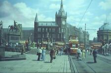 Trams City Square Leeds in 1954 unused RK Calvert postcard