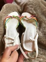 Size 5 white and multi strappy stiletto heel sandals from New Look Neon