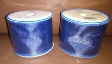 Stars and Stripes 2.5 in Shimmering Blue Mesh Wire Ribbon 3 Yards Long Set of 2
