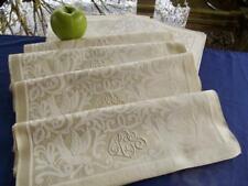 12 Antique Edwardian French Linen Lapkin Napkins Figural Animals Damask Mono CCG