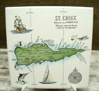 Vintage St. Croix  Map ceramic tile trivet/ wall hanging decor