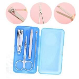 4Pcs/set Stainless Manicure Tool Set Kit Nail Clippers Scissors File Tweezers KV