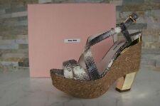 MIU MIU Gr 40.5 Sandalias Con Plataforma Zapatos 5XZ127 marrón - beige