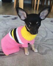 CHIHUAHUA TAGLIA XSMALL rosa e bianco, giallo nero a righe DOG ABITO A MAGLIA
