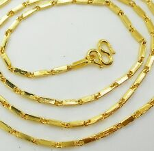 22K 24K Thai Baht Yellow Gold  GP Filled Necklace 24 inch 2 mm  Jewelry