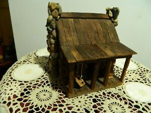 Folk Art Hand Made Wooden Cabin, Porch Swing Dated Signed