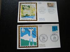 FRANCE - 2 enveloppes 1er jour 1987 (etretat/transport cables) (cy78) french