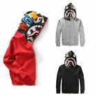 HOT Bape A Bathing Ape Jacket SHARK Head Camo FULL ZIP HOODIE Long Sleeve Coat