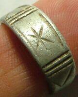 Rare Genuine Ancient Roman Silver ZODIAC LUNAR archers Ring artifact Sun star