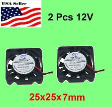 2Pcs 12V 2Pin 25mm 25x25x7mm7mm 2.5cm 9Blade Mini Small DC Brushless Cooling Fan