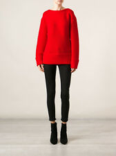 NWT $520 HELMUT LANG RED VEIN OPACITY INTARSIA SWEATER  SIZE  L