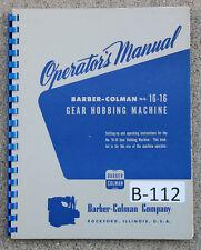 Barber Colman 16 16 Model A Operations Manual